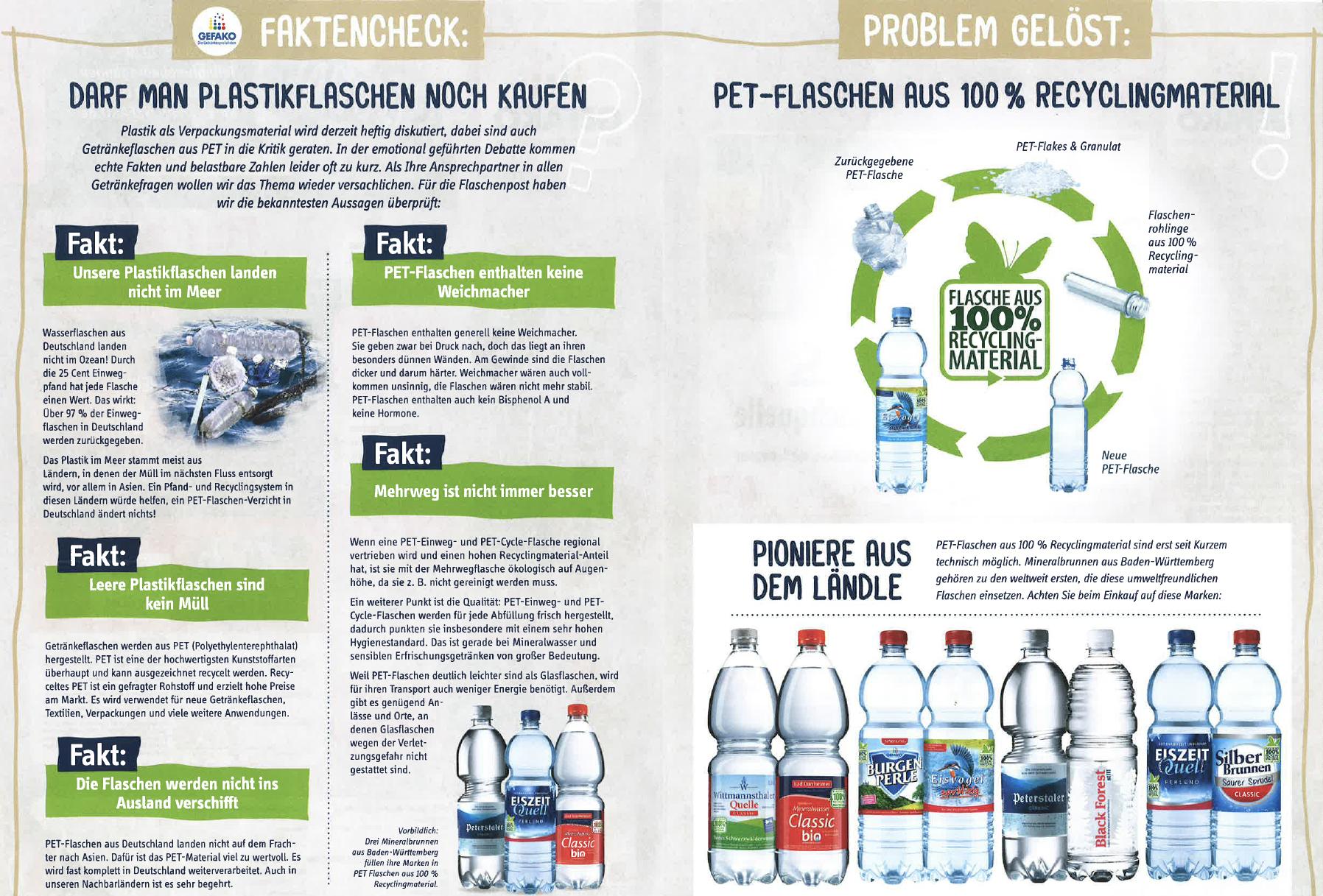 Gefako Fakten Check PET Flaschen Einweg Im Kasten Petcycle Werbung Doppleseite